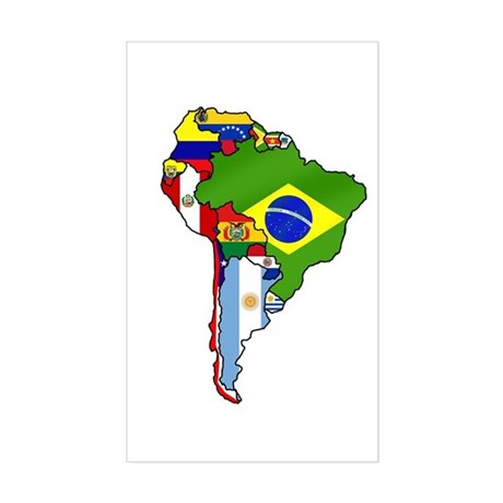 South America Flag Map Sticker (Rectangle)