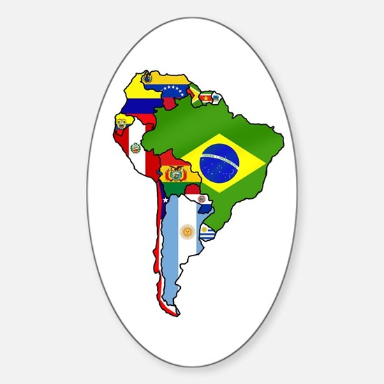 South America Flag Map Sticker (Oval)