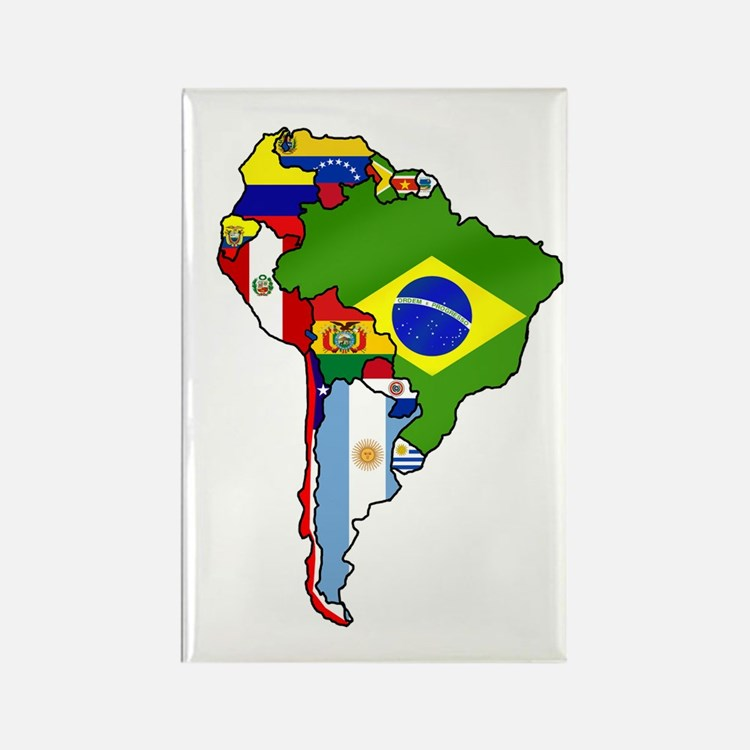 South America Flag Map Rectangle Magnet