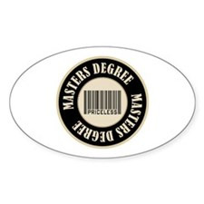 Masters Degree Priceless Bar Code Oval Decal