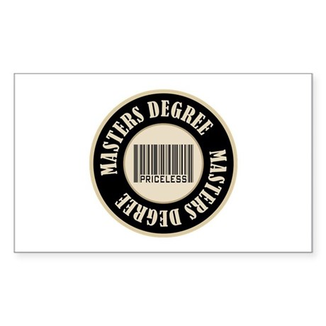 Masters Degree Priceless Bar Code Sticker (Rectang