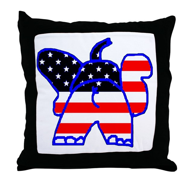 Malawi Elephant Throw Pillow : Patriotic Elephant Throw Pillow by patrioticelepha