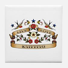 Live Love Knitting Tile Coaster