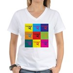 Hang Gliding Pop Art Women's V-Neck T-Shirt