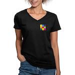 Hang Gliding Pop Art Women's V-Neck Dark T-Shirt