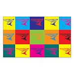 Hang Gliding Pop Art Rectangle Sticker