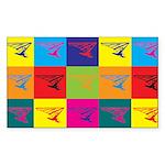 Hang Gliding Pop Art Rectangle Sticker 50 pk)