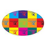 Hang Gliding Pop Art Oval Sticker