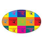 Hang Gliding Pop Art Oval Sticker (10 pk)