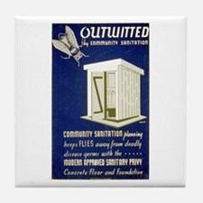 Flies Outwitted Tile Coaster