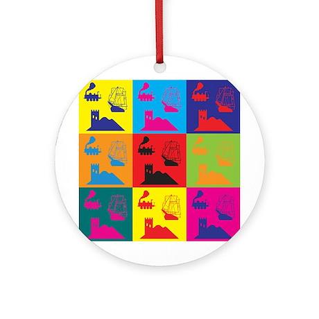 German Board Games Pop Art Ornament (Round)