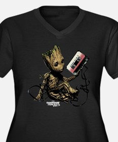 GOTG Groot C Women's Plus Size V-Neck Dark T-Shirt