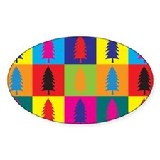 Forestry Pop Art Oval Sticker (10 pk)