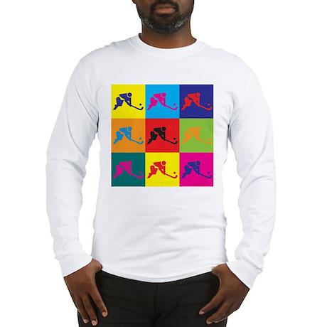 Field Hockey Pop Art Long Sleeve T-Shirt