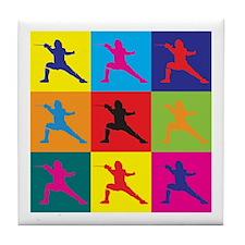 Fencing Pop Art Tile Coaster