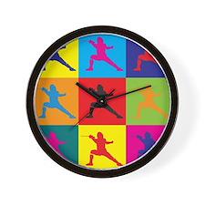 Fencing Pop Art Wall Clock