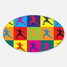 Fencing Pop Art Oval Decal