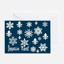 Falling Snow and Fleur de Lis Single Holiday Card