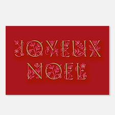 JOYEUX NOEL Deep Red Holiday Postcards 8 pk