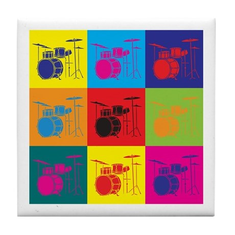 Drums Pop Art Tile Coaster