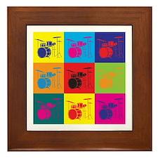 Drums Pop Art Framed Tile