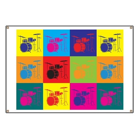 Drums Pop Art Banner
