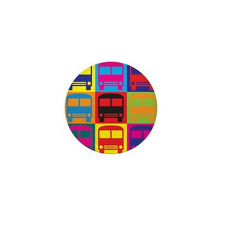 Driving a Bus Pop Art Mini Button (10 pack)