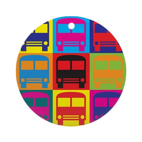 Driving a Bus Pop Art Ornament (Round)