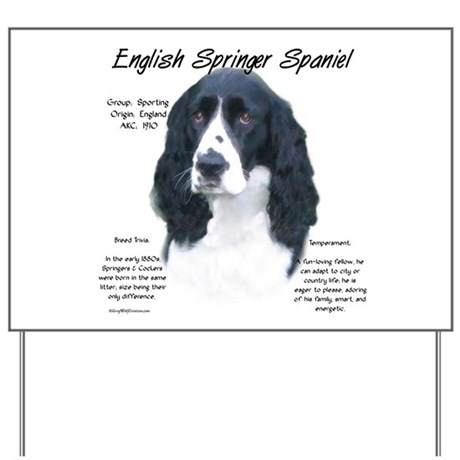 Black English Springer Yard Sign