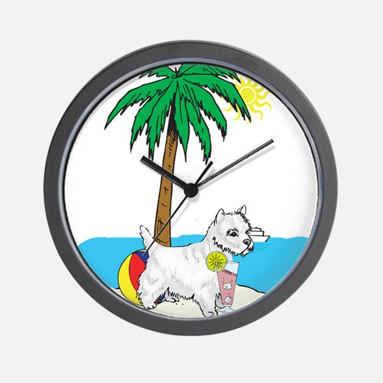 Beach Westie Wall Clock