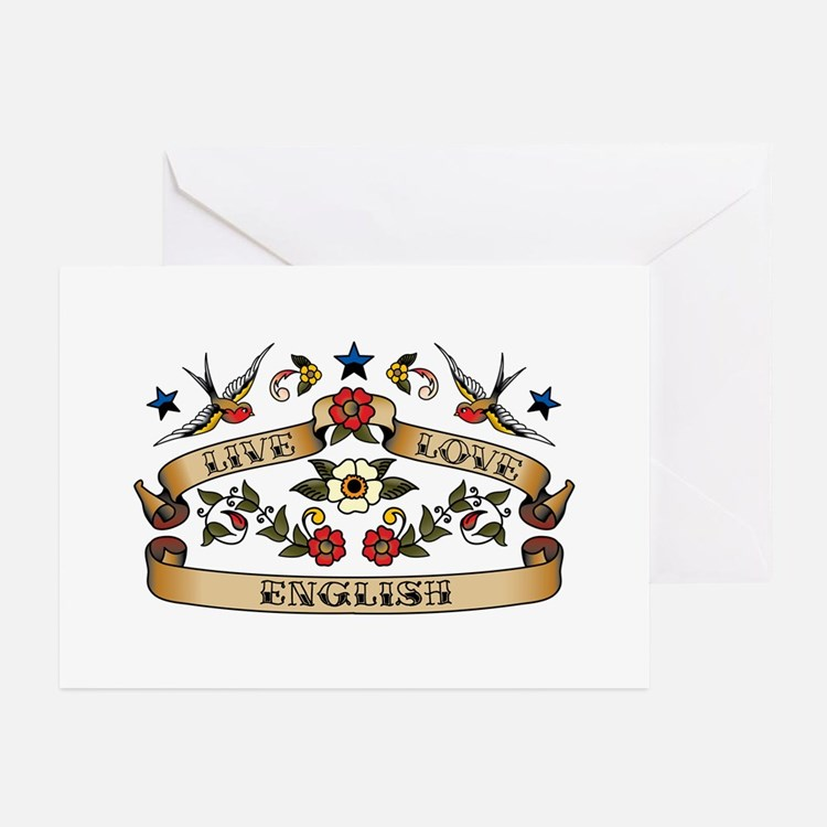 Live Love English Greeting Cards (Pk of 20)