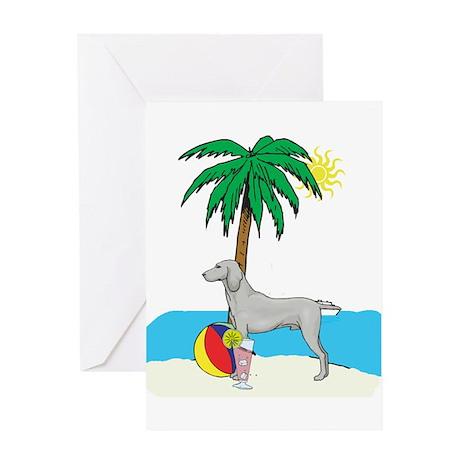 Beach Weimaraner Greeting Card
