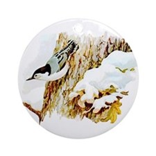 White Breasted Nuthatch Ornament (Round)