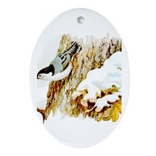 White Breasted Nuthatch Oval Ornament