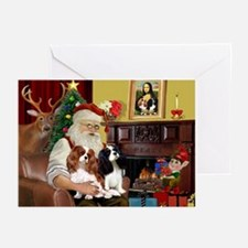 Santas Two Cavaliers Greeting Cards (Pk of 10)