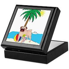 Beach Pug Keepsake Box