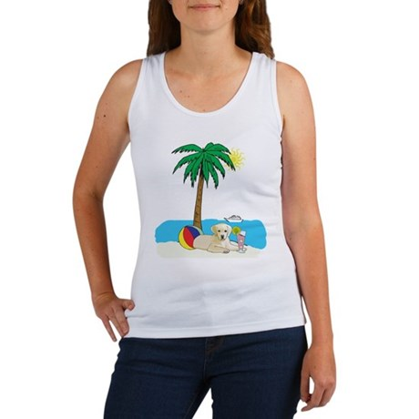 Beach Yellow Lab Women's Tank Top
