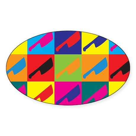 Cutting Meat Pop Art Oval Sticker