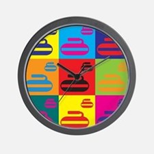 Curling Pop Art Wall Clock
