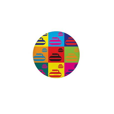 Curling Pop Art Mini Button (100 pack)
