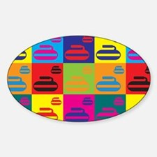Curling Pop Art Oval Decal