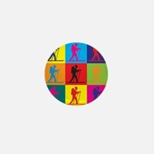Cross Country Skiing Pop Art Mini Button