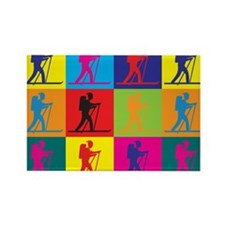 Cross Country Skiing Pop Art Rectangle Magnet (10