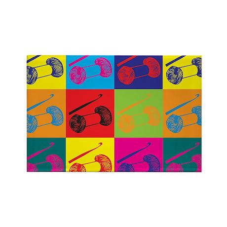 Crocheting Pop Art Rectangle Magnet (10 pack)