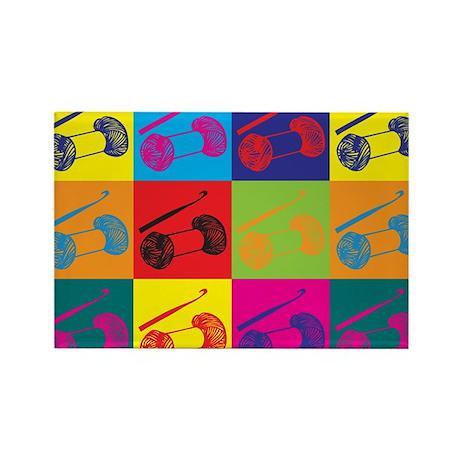 Crocheting Pop Art Rectangle Magnet (100 pack)
