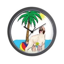 Beach Afghan Hound Wall Clock