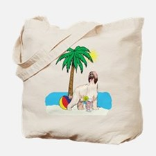 Beach Afghan Hound Tote Bag