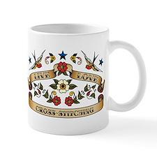 Live Love Cross-Stitching Small Mug