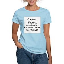 Chaos, Panic, Disorder Women's Pink T-Shirt