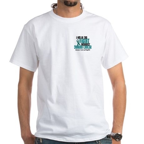 In The Fight Ovarian Cancer 1 (Daughter) White T-S